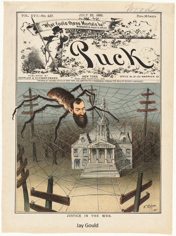Jay Gould 1883, Justice in the web, spitter web with spitter