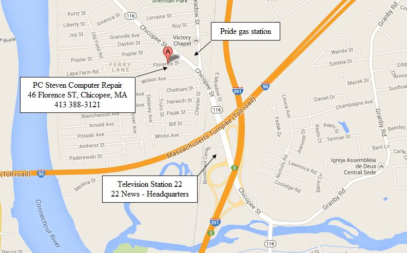 Map PC Steven Computer Repair Service 46 Florence ST Chicopee, MA 01013
